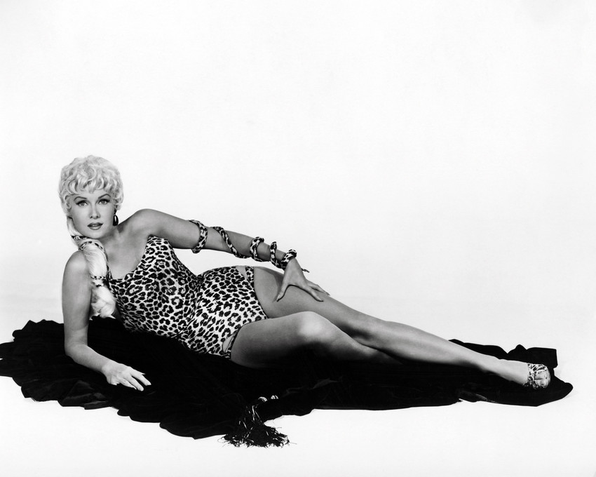 Rhonda Fleming Blonde Hair Leopard Skin Swimsuit Posing On