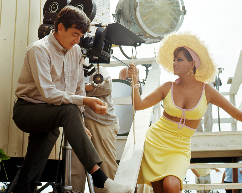CLAUDIA CARDINALE BUSTY ON FILM SET BEING DIRECTED BY CAMERA PHOTO OR POSTER